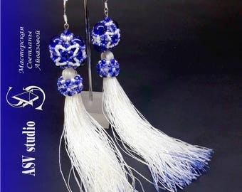"Long earrings-brushes ""The decoration of the Snow Maiden"""