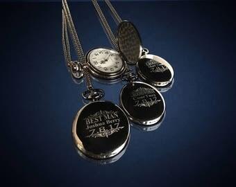 15 Personalized Pocket Watches - 15 Groomsman engraved gifts - Personalize gift engraved watch - Usher & Officiant gift - Wedding gift set