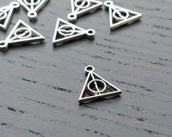 4 Harry Potter Charms | Deathly Hallows Charm | Deathly Hallows Triangle | Silver Harry Potter | Ready to Ship USA | AS463-4