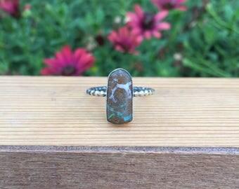 Australian Boulder Opal Ring / Sterling Silver Ring Size 9 / Australian Opal Ring / Natural Opal Ring / Rough Opal Ring / Opal Jewelry