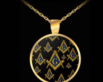 Freemason necklace - Masonic symbols square and compass - 357 pha gift accessories