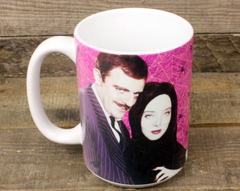 Gomez and Morticia Mug gifts for goths Addams Family tv original gothic family Spider Webs creepy fun