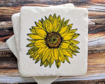 Sunflower Stone Coasters, Sunflower Coaster, Sunflower Home Decor, Sunflower Gift, Sunflower Desk Decor, Teacher Gift, Housewarming Gift