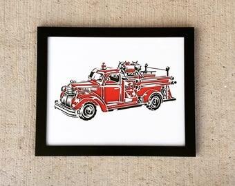 Vintage Firetruck   3D Stencil Art