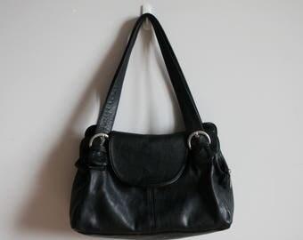 Black leather vintage bag/Retro handbag
