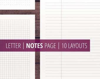 Notes Page Inserts / Levenger Circa (Lined + Squared + Dotted + Blocks) Printable Inserts / Letter Size Binder Inserts / Minimalist planner