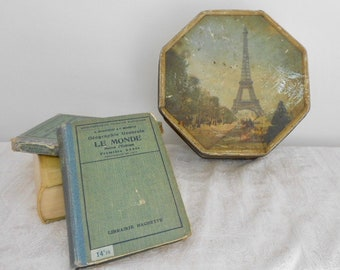 Vintage Tin, Paris Decor, Wabi Sabi Tins, Biscuit Tin, French Tins, Large Decorative Tin, Eiffel Tower