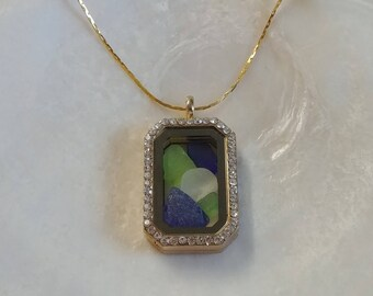 Maine Sea Glass Memory Locket Necklace