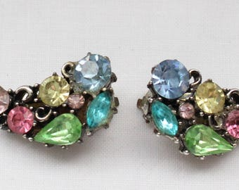 Vintage Signed Lisner Silver Tone Clip On Earrings with Crystal Rhinestones in Blue, Green, Yellow, Aqua, and Pink