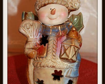 Vintage Ceramic Snowman Angel Tealight Candle Holder, Christmas Candle Holder, Holiday Decor, Christmas Decorations, Frosty, Snowflakes