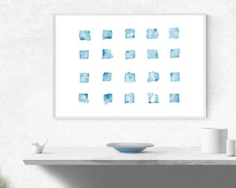 Printable, Instant Digital Download Art - Blue, Abstract Watercolour Squares, Wall Art, Blue Abstract Art, Minimalist Art, Home Decor