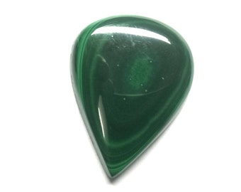 Malachite Pear Cabochon, Natural Malachite, Loose Cabochon, Smooth Gemstone, Natural Cabochon, AAA, 30x23x5 MM, 44 CTS