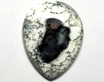 Natural Dendritic Opal Pear Designer Cabochon, Dendrite Opal Cabochon, Smooth Cabochon, AAA Dendrite Opal, Loose Gemstone, 41x32x5 MM, 55 CT