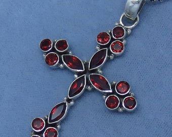Genuine Garnet Large Cross Pendant or Necklace - Sterling Silver - JY163085