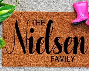 Personalized doormat, last name doormat, housewarming doormat, wedding doormat - newlyweds, graduation, mother's day gift, doormat