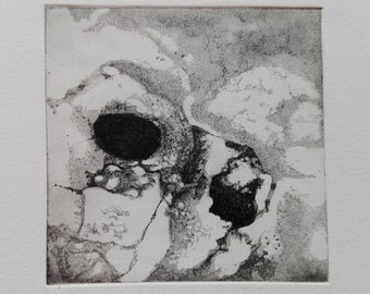 "ORIGINAL Etching ""Zoom I"" // Modern Glass Framed Hand Pressed Aquatint Print, Abstract Dry Point Wall Art Decor"