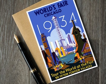 1934 world's fair, Chicago cards, Chicago birthday cards, Chicago christmas cards, Chicago retirement cards, Chicago Illinois, chicago USA