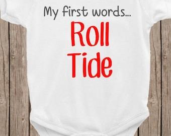 Roll tide, UofA, University of Alabama, Crimson Tide, Alabama bodysuit, southern baby, southern belle