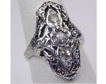 deco 14k .90 Ctw old european cut diamond ring #10024