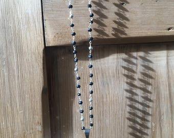Black Spinel and Silver Pyrite Rosary Chain with Pave Crescent Pendant
