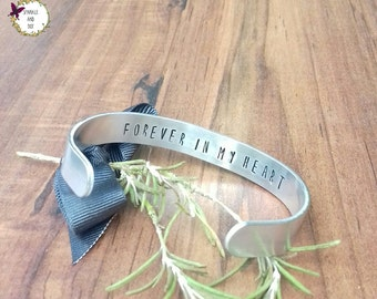 Custom Design Hidden Message Bracelet, Secret Message Jewellery Gift, Hand Stamped Cuff Bracelet,