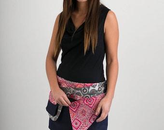 Reversible Cotton Skirt Red Pink Square Print Denim Detachable Pocket Mini Length