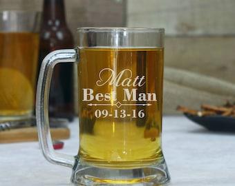 Set of 2, Personalized Beer Mug, Groomsmen Beer Mug, Engraved Beer Glass, Gift for Groomsmen, Beer Glasses, Custom Beer Glass
