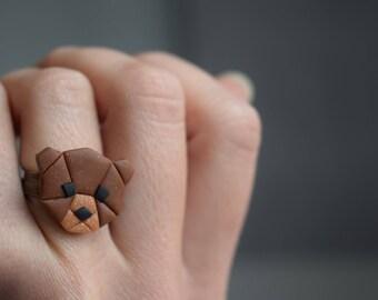 Bague Geometrical Bear - Pâte Polymère