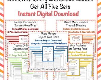 Action Guide - Bundle  - Book Marketing Worksheet Bundle, Digital Downloand, 30 Worksheets, Checklists, Tracking Pages