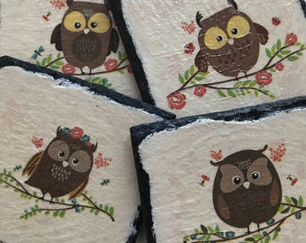 Set of 4 - Natural Slate Cute Owl Coasters