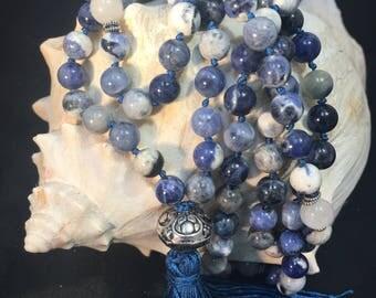 Sodalite Blue White 8mm Crystal Gemstone Hand Knotted Silk Tassel Mala, Tassel Mala, Yoga Necklace, 108 Prayer Beads, I Am Wise Mantra