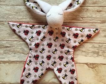 Doudou baby blankie comforter bunny Rabbit pattern bees