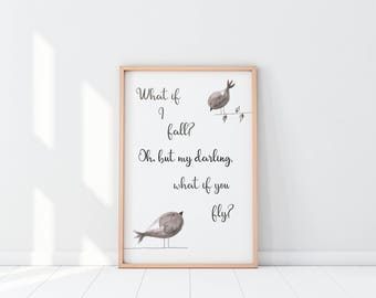 What If I Fall? Quote Print, What If You Fly Print, Quote Prints, Quote Posters, Quote Wall Art, Wall Prints, Home Prints, Gifts for Her