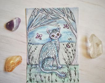 Original Fairytale Forrest Cat Artist Trading Card