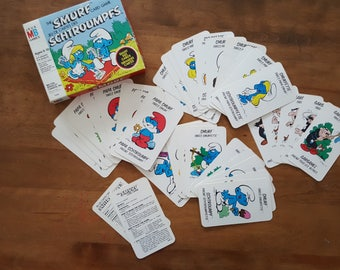 The Smurf Card Game Bilingual French and English Giant Size Cards Vintage 80s 1982 Milton Bradley Board Game Made in Canada Retro Game Night