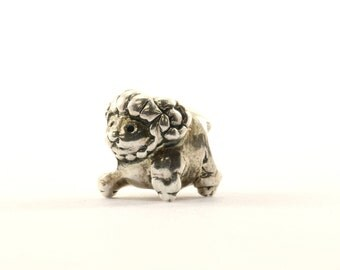 Vintage Cute Baby Ram Bead Charm Sterling 925 CH 205