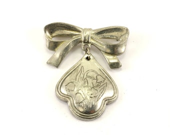 Vintage Floral May Lily Of The Valley Design Pin/Brooch  925 Sterling BB 1108