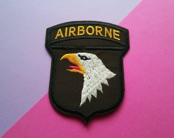 Airborne Iron On Patch/Military Patch/Clothing Patch/Applique/AirSoft Patch/Jacket Patch/Sewing Supplies/ Historical/Father's Day Gift