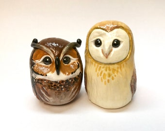 Golden Barn Owl and Great Horned Owl Polymer Clay OOAK Figurines