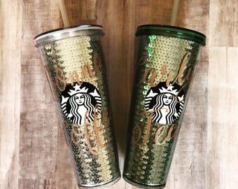 Personalized Sequin Starbucks Tumbler | Personalized Name | Silver or Green 24oz Cup | Coffee Tumbler with Lid & Straw