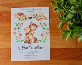 Mama Bear Baby Shower Invitations, Woodland Baby Shower Invite, Cute Baby Shower, Mama Bear, Mommy Bear, Invitations