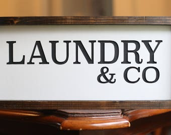 Laundry & Co Wooden Sign | Laundry Room Decor | Rustic Laundry Room Sign | Wood Framed Laundry Sign | Laundry Room Decor  | Farmhouse Decor