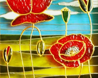 Red poppy painting poppy meadows painting handpainted glass