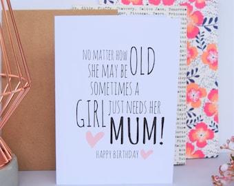 Mum Birthday Card | Just Needs Her Mum | Mom Card | Mom Birthday Card | Card for Mum | Funny Mum Card | Birthday Card | Mum Gift | Mom Gift