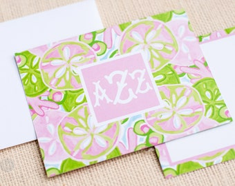Pink and Green Sand Dollar Notecards and Envelopes - Monogram Stationery - Preppy Stationery - Monogram Notecards - Personalized Notecards