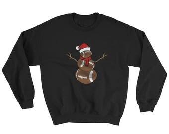 Funny Christmas Sweatshirt for Football Lovers Funny Christmas Football Ball Santa Snowman Sweatshirt