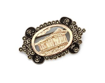 Parthenon Greece Architecture Brooch, 900 Silver and Rose Gold, Sparkling Stones, Antique 1920s Victorian Jewelry, Two Tone Scalloped Brooch