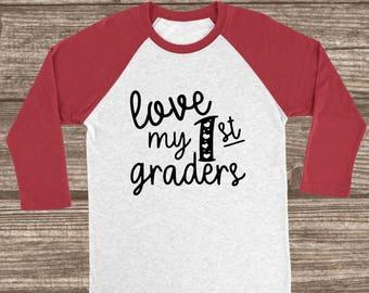 Teacher Valentines Red 3/4 Sleeve Raglan T-shirt - Teacher Valentines Day Shirt - Custom Valentine's Raglans - 1st Grade Teacher Shirt