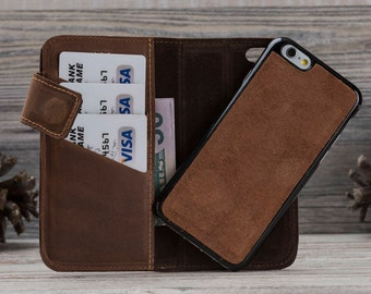 Antic Brown Leather iPhone 6 Case, Detachable Magnet Wallet Case, iPhone 6 Leather Case, iPhone 6S Case, iPhone 6S Leather Case, Dad Gift