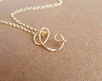22k gold C Letter Necklace Letter C Necklace Personalized Necklace Large Letter C Necklace Initial C Necklace Hammered Initial C 22k gold